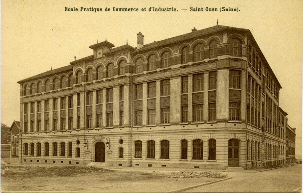 """Ancienne photographie du bâtiment de Supméca. Il est écrit desuss """"École pratique de commerce et d'industrie - Saint-Ouen (Seine)."""