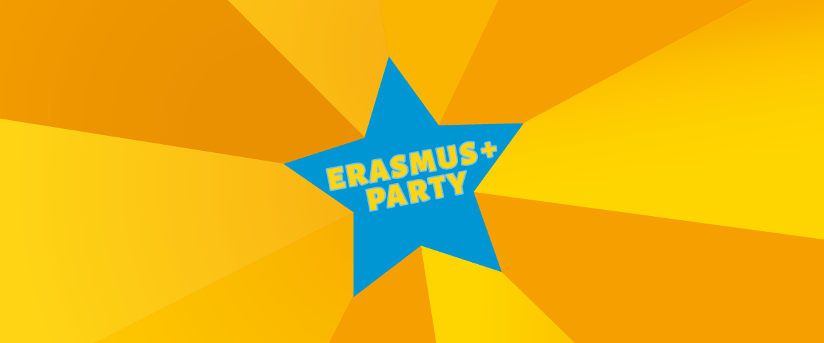 Texte Erasmus + Party dans une étoile bleue sur fond jaune en perspective