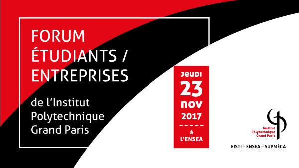 Visuel en rouge et noir du Forum étudiants-entreprises de l'IPGP daté au 23 novembre 2017