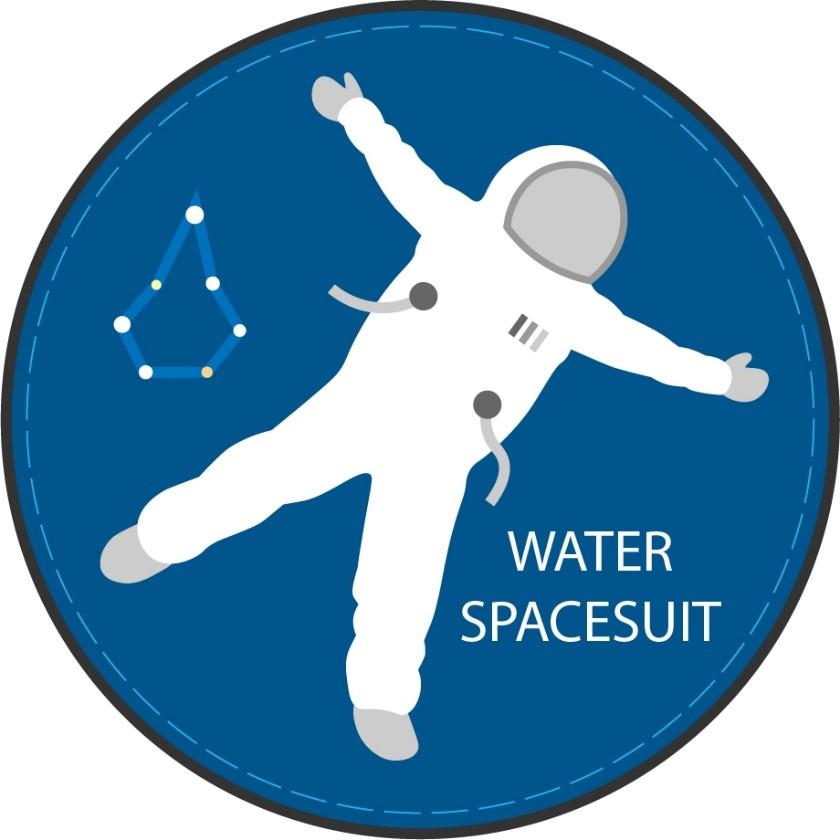 Logo Water spacesuit : cercle bleu avec astonaute les bras ouvert dedans