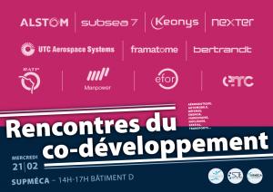 Affiches des Rencontres du co-développement à Supméca, assemble de logos d'entreprises d'ingénierie