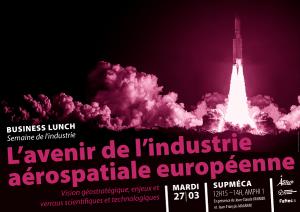 Affiche illustrant L'avenir de l'industrie aérospatiale européenne : une fusée Arianne en bichromie prune et noir décole dans d'énorme nuages de fumée