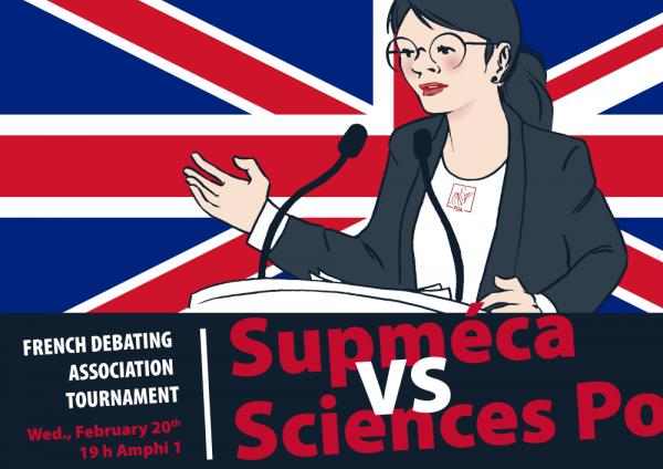 Affiche pour la rencontre Supméca-Sciences Po représentant une jeune fille en train de débattre