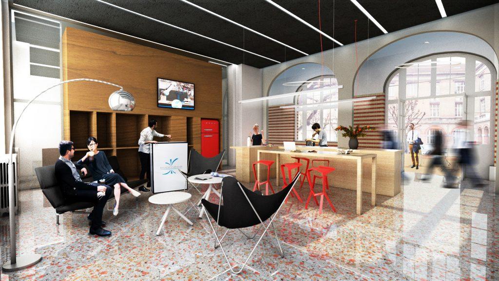 image d'architecte du Project Center : personnes assises dans des fauteuils dans un grand espace lumineux au sol brillant et pailleté