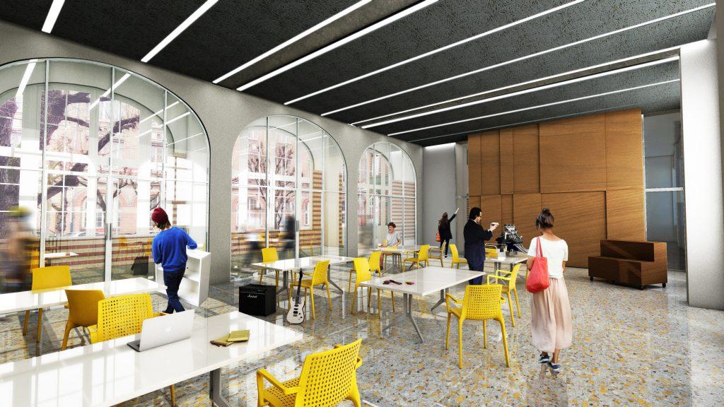 Project center à Supméca : des personnages déambulent dans un grand espace lumineux autour de tables blanches et de chaises jaunes
