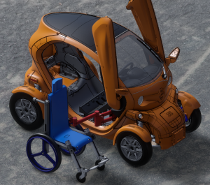 Une voiture électrique monoplace adaptée pour embarquer un pilote en fauteuil roulant
