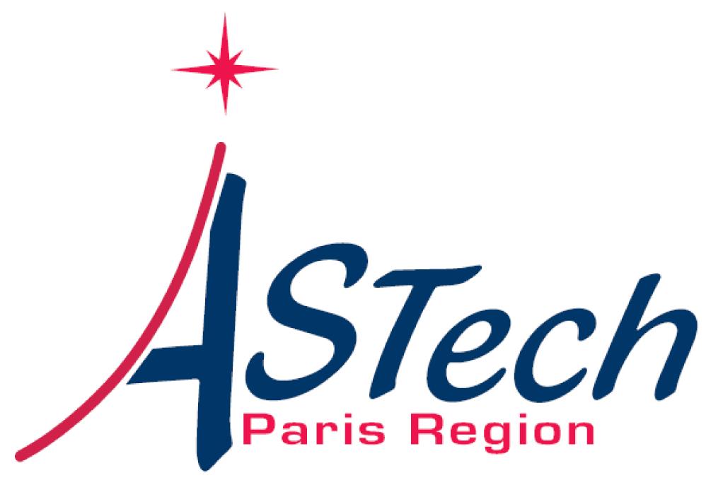 logo AStech Paris Région bleu marine et rose avec une étoile