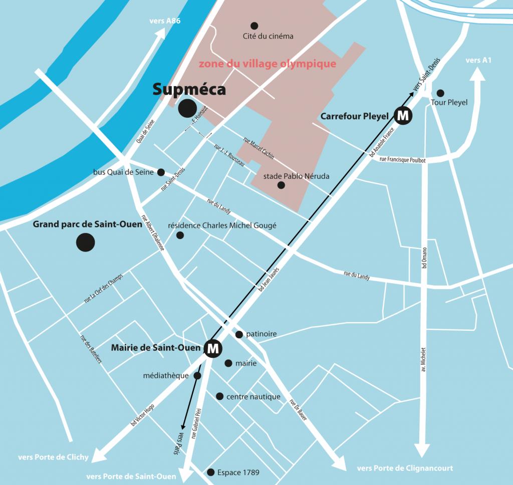 Plan du quartier de Supméca, à Saint-Ouen
