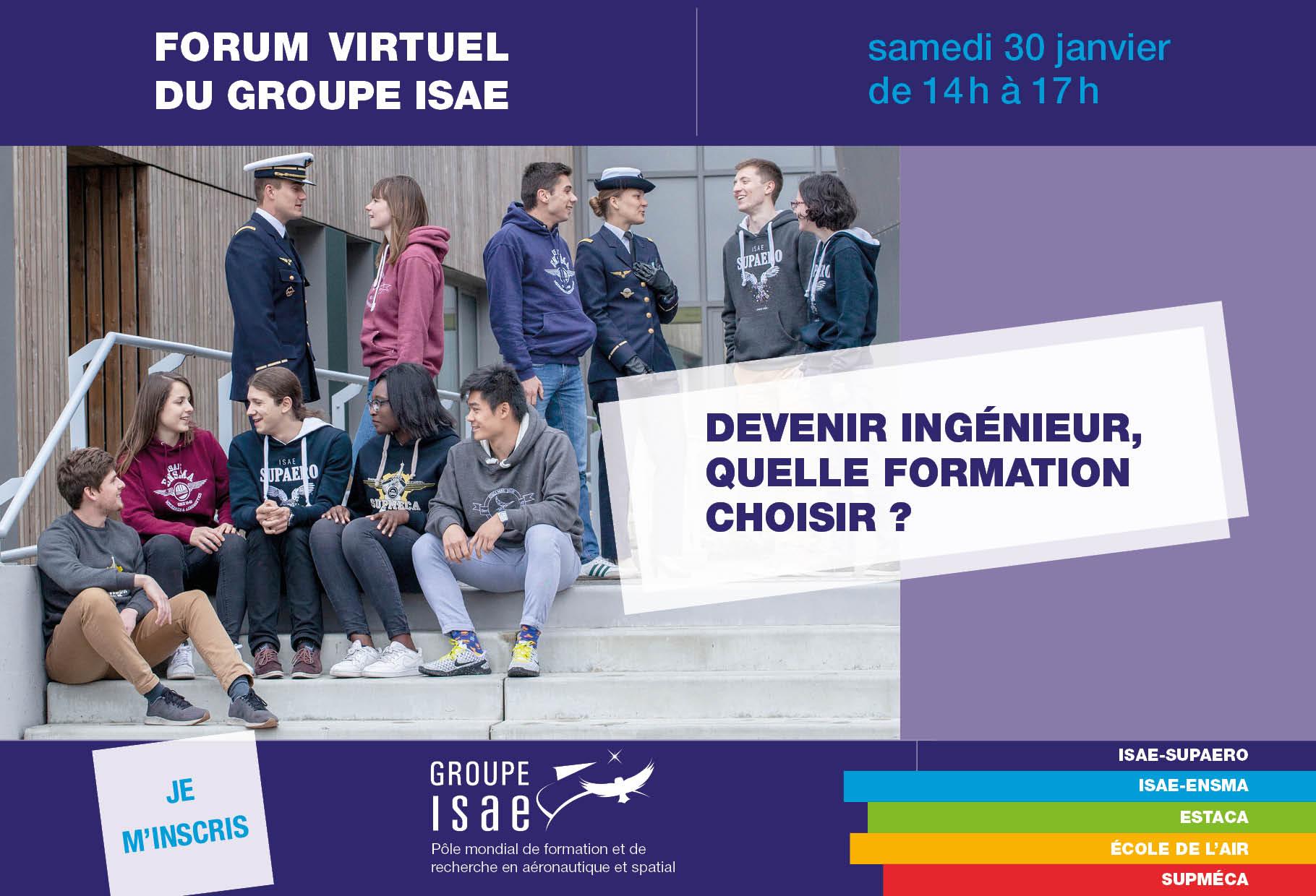 Visuel du Forum virtuel du Groupe ISAE : des étudiants identifiables comme appartenant aux écoles du groupe sont installé dans les marches d'un escalier et discutent ensemble