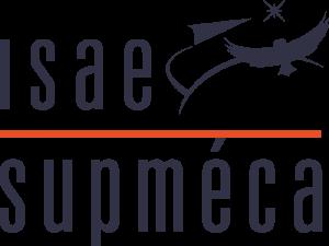 Logo ISAE-Supméca noir avec une ligne orange et un symbole composé d'une ligne courbe d'horizon, d'un avion, d'une chouette et d'une étoile